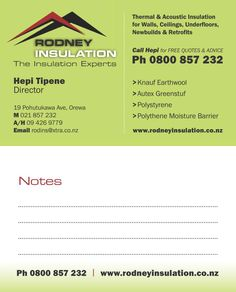House insulation company business card. Hierarchy at work, e.g call to action is loud & clear with big bold phone number.