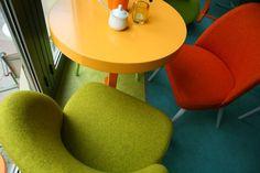 Furniture in vivid colors / Cafein cafe, Szczecin, Poland