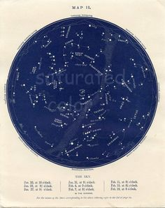 January / February Night Sky Constellations Antique Star Chart Map - 1901 Vintage - January 20th through February 19th Night Sky Map 2