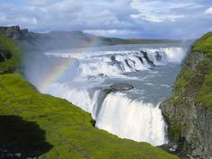 Generic Personalized (Nature Waterfall iceland waterfalls gullfoss Nature Waterfall) Pillowcase Standard Size Design Pillow Case Cover suitable for King-bed Places In Europe, Places To See, Rainbow Waterfall, Gullfoss Waterfall, Famous Waterfalls, Iceland Waterfalls, Natural Wonders, Beautiful Landscapes, Wonders Of The World