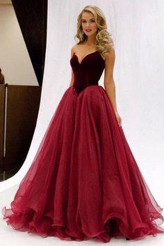 2017 Princess V-Neck Organza Sleeveless Open Back Ruffles Burgundy Prom Dresses uk PM696