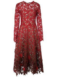 Oscar de la Renta Embroidered Lace Eyelet Leaf Long-Sleeve A-Line Dress Crochet Midi Dress, Red Midi Dress, Lace Dress, Dress Up, African Lace Styles, Kente Styles, Red Cocktail Dress, Lace Evening Dresses, Wedding Dresses