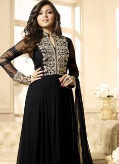 Beguiling Black Coloured  Georgette Semi-Stitched Designer Salwar Suit