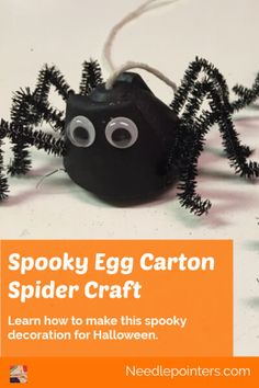 Learn how to make Halloween egg carton spiders with our video tutorial and photographic step-by-step instructions. Kid Friendly Project.