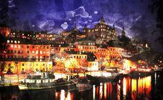 Stockholm Ljus Natt canvastavla från Happywall