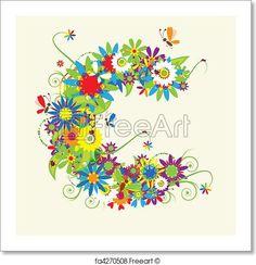 Letter C, floral design. - Artwork  - Art Print from FreeArt.com