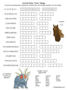 Printable Spanish FREEBIE of the Day: Animal Parts Word Merge puzzle worksheet from PrintableSpanish.com