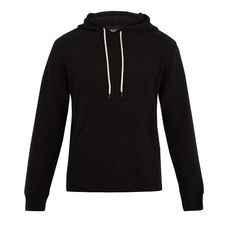 A.P.C. Arrow hooded wool-blend sweatshirt ($290) ❤ liked on Polyvore featuring men's fashion, men's clothing, men's hoodies and black