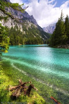 The Green Lake in Styria, Austria with it's emerald green and crystal clear water. This lake was recently voted the most beautiful place inside Austria.