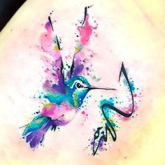 Best Watercolor Hummingbird Tattoo Idea
