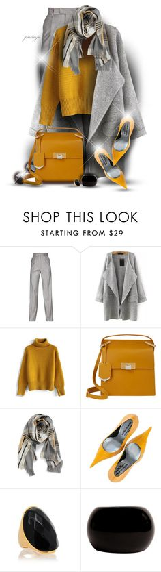"""""""Mustard and Pepper"""" by rockreborn ❤ liked on Polyvore featuring Maison Margiela, Chicwish, Retrò, Balenciaga, BP., Paolo Shoes, Kenneth Jay Lane and Yves Saint Laurent"""