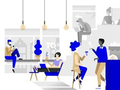 Nice colour accents -- TQ is a curated tech space at the heart of Amsterdam. Flat Design Illustration, Simple Illustration, City Illustration, Business Illustration, Character Illustration, Digital Illustration, Design Sites, Web Design, Co Working