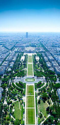 Parc du Champs-de-Mars viewed from Eiffel Tower in Paris