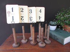 Rustic Table Number Holder Vintage Wedding By TheVintageOrangeJar