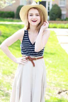 Poor Little It Girl - Gap Navy & White Striped Tank, Madewell Midi Skirt, Zara Nude Ankle Strap Heels and Greenpacha Panama Hat - via @poorlilitgirl