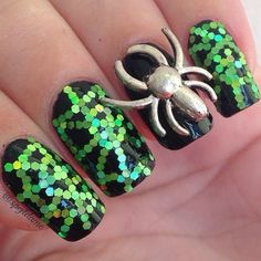 Sparkly Green Spider Web
