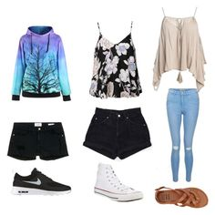 """Lazy day day in the town night out"" by kswenson2021 on Polyvore featuring Ally Fashion, Sans Souci, Levi's, New Look, Converse, Billabong, NIKE and Frame Denim"