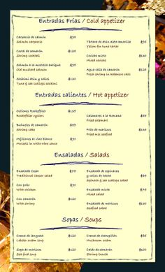 Menu restaurante - Playa del Carmen - México.
