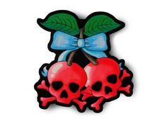 Rockabilly Poisonous Cherries Sticker - Psychobilly Art rockabilly art psychobilly alternative rocker punk rock art skull decor skull cherries pin up style rockabilly cherries indie art original artwork grunge bow cute fruit 2.50 USD #goriani