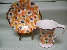 Porzellan Kaffeebecher 2 tlg Kaffeegedeck 24 ct Gold Plated orange Blüten in Box