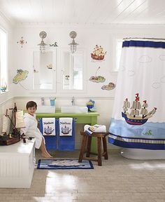 Pirates are more than a great theme for kids bedrooms. Give your kids bathroom a makeover with some fun kids bathroom decor accessories from Pottery Barn Kids. Check out the adorable pirate bath mat and pirate applique shower curtain, not to mention, the personalized towels. What an awesome theme idea for a boys bathroom!