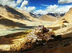 Key Gompa with Spiti River flowing behind, Spiti Valley, Himachal Pradesh, Lahaul and Spiti district,