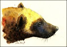 PRINT-Wolverine head portrait print watercolor painting art wall wolverine animal forest american Art Print by Juan Bosco on Etsy, € Watercolor Paintings Of Animals, Animal Paintings, Animal Drawings, Painting Art, Wolverine Animal, Wolverine Art, Realism Artists, Wolf Artwork, Majestic Animals