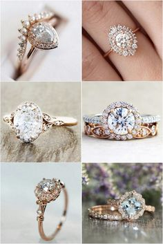 Vintage inspired wedding engagement rings #weddingrings #engagementrings