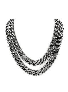 Halsband - DOUBLE UP (hematit) i gruppen Smycken hos JFR Smycken AB (BB371 493e71335827e