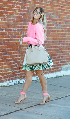 Spring Outfit... Love the Pop of Neon Pink