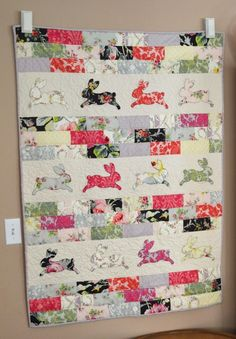 Bunny Bricks Quilt ~ with Sizzix die-cut rabbit shapes ~ for Easter, nursery, etc. | tutorial from Jedi Craft Girl
