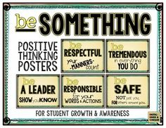 Included in this free set are 5 Positive Thinking Posters for student growth.  Use these posters to spark discussion and as a social/emotional strategy for students to be successful.Be Safe:  Not just you, for others around youBe Respectful:  Your manners countBe Tremendous: In everything you doBe Responsible:  For your words and actionsBe a Leader:  Show you knowEach poster is standard-page sized (11x8.5, landscape).If you like this, then check out the full setBe Something!
