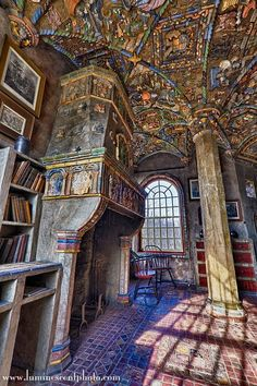 FONTHILL CASTLE. Thousands of handcrafted ceramic tiles were inset throughout, including Henry Mercer's own Moravian-style tiles plus Persian, Chinese, Spanish, and Dutch productions he collected. Today, the 60-acre Bucks County estate serves as a museum to pre-industrial life, with 900 American and European prints at Fonthill. East Court St. and Rt. 313, Doylestown, PA.