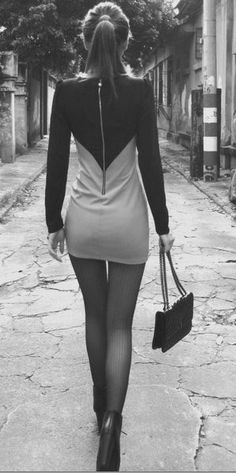 little black + white dress
