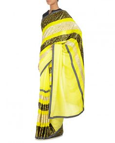 Mandira Bedi Lime Yellow Saree With Sequins