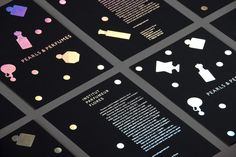 Pearls & Perfumes - an invite, which uses holographic foil on a thick black card