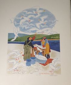 #art Rare SIGNED & NUMBERED Lithograph SCRAP FOR THE GULLS, YUKON RIVER by Rie Munoz please retweet