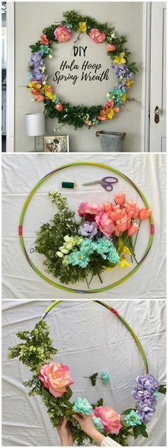 You have to see this tutorial on how to make #DIY spring hula hoop wreath #HomeDecorIdeas @istandarddesign
