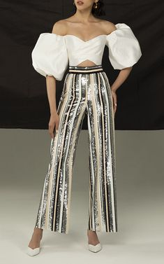 Puff Sleeve Blouse with Wide Leg Striped Sequin Pants by Rasario Resort 2019 Look Fashion, Runway Fashion, Womens Fashion, Fashion Design, Stage Outfits, Stylish Outfits, Sequin Pants, New Years Eve Outfits, Blouse Outfit