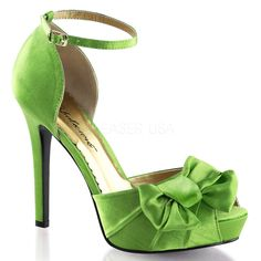 "4 3/4"" Heel, 1"" Platform Peep Toe Ankle Strap d'Orsay Pump With Pleated Bow on Vamp."