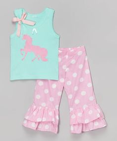Look what I found on #zulily! Teal Unicorn Tank & Pink Ruffle Pants - Infant, Toddler & Girls #zulilyfinds