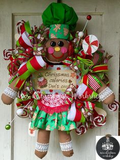 Christmas wreath gingerbread wreath chef by MrsChristmasWorkshop