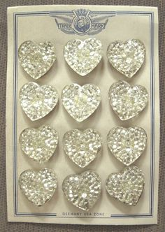 Vintage glass heart buttons on original card - so sparkly.