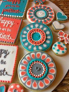 Funky Flower Cookies - HayleyCakes And Cookies. i love these colors! Crazy Cookies, Fancy Cookies, Valentine Cookies, Iced Cookies, Cute Cookies, Birthday Cookies, Cupcake Cookies, Heart Cookies, Sugar Cookies