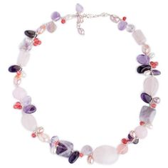Silver 'Lilac Whisper' Pearl Multi-gemstone Necklace (10mm) (Thailand)  http://www.overstock.com/10190829/product.html?CID=245307