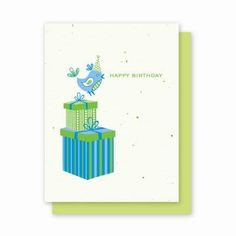 Happy Birthday Greeting Cards that grow flowers, herbs or vegetables.  Each card is embedded with seeds.  100 choices on my website.  www.myenchantedgifts.labellabaskets.com