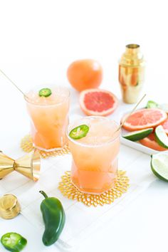 Spicy Grapefruit and Tequila Paloma Cocktail Summer Cocktails, Cocktail Drinks, Cocktail Recipes, Alcoholic Drinks, Beverages, Tequila Drinks, Cocktail Parties, Drinks Alcohol, Alcohol Recipes