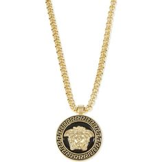 Versace Medusa pendant necklace ($520) ❤ liked on Polyvore featuring men's fashion, men's jewelry, men's necklaces, mens pendant necklace, mens gold box chain necklace, mens chain necklace, mens gold necklace and mens gold chain necklace