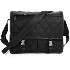 Prada Quilted Messanger Bag ($1,660) ❤ liked on Polyvore featuring men's fashion, men's bags, men's messenger bags, mens courier bag, mens messenger bag and mens leather messenger bag
