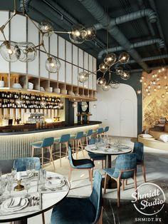 restaurant interieur Interior Cafe on Behance - Restaurant Interior Design, Modern Interior Design, Interior Design Inspiration, Restaurant Interiors, Cafe Bar, Cafe Central, Bar Bistro, Design Exterior, Modern Restaurant